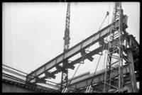 Fulton Street El, Brooklyn, at Hudson Avenue, July 1, 1941. Taking down the second section.
