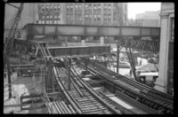 Fulton Street El, Brooklyn, at Hudson Avenue, July 1, 1941. Taking down the third section.