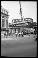 Fulton Street El, Brooklyn, at Hudson Avenue, July 1, 1941. Removing the fourth section, completing the demolition of the Fulton Street El from Court Street to Lafayette Street.