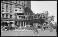 Fulton Street El, Brooklyn, October 16, 1941. Beginning demolition from Myrtle Avenue to the Tillary Street yard. View of the Myrtle Avenue station.