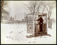 Unidentified man at O'Neill's well, west of Broadway in line with W. 169th Street, New York City, December 29, 1897.
