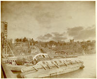 Partly capsized boat on Spuyten Duyvil Creek, New York City, undated [c. 1893-1902].