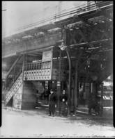 Ninth Avenue El, Manhattan, on Greenwich Street at Cortland Street Station, undated.