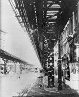 Ninth Avenue El, Manhattan, at Greenwich Street looking north to Dey Street, undated.