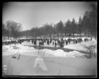 Ice skaters on the frozen river, Bronx Park, Bronx, N.Y., 1903.