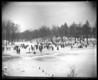 Ice skaters on the frozen river, Bronx Park, Bronx, N.Y., 1904.