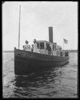Boat with visitors, Fort Slocum, New York, 1898.
