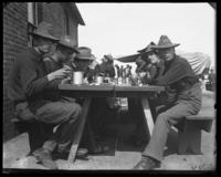 Company D at dinner, Fort Slocum, New York, 1898.