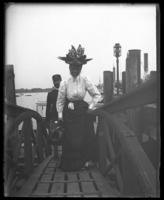 Mrs. Frederick Charles Ringer coming off the boat, Fort Slocum, New York, 1898.