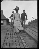 Mrs. Frederick Charles Ringer boarding the boat, Fort Slocum, New York, 1898.