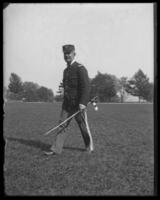 Lieutenant-Colonel Nathaniel Blunt Thurston walking across the lawn, Fort Slocum, New York, 1898.