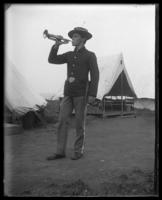 Bugler playing, Company B, Fort Slocum, New York, 1898.