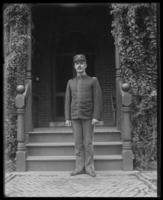 Lieutenant-Colonel Nathaniel Blunt Thurston standing in front of Headquarters, Fort Slocum, New York, 1898.