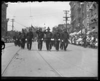 Firemen marching in parade, Decoration Day, Bronx, N.Y., 1903 or 1909.