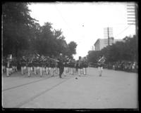 Band marching in parade, Decoration Day, Bronx, N.Y., 1903 or 1909.