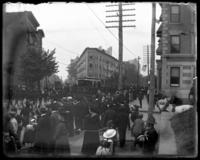 Crowds watching a parade, Decoration Day, Bronx, N.Y., 1903 or 1909.