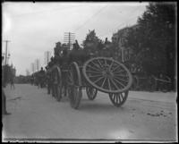 Caissons on parade, Decoration Day, Bronx, N.Y., 1903 or 1909.]