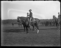 Adjutant Frederick Charles Ringer of the 22nd Regiment, on horseback, sham battle, 1898.