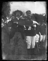 Vice President Theodore Roosevelt and General Archibald Butt at a sham battle, [possibly Van Cortlandt Park, Bronx, N.Y.], June 15, 1901.