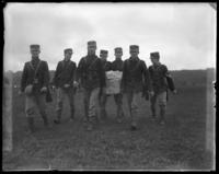 A foraging party, sham battle, [possibly Van Cortlandt Park, Bronx, N.Y.], June 15, 1901.