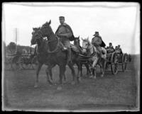 The 1st Battery passing in review, sham battle, [possibly Van Cortlandt Park, Bronx, N.Y.], June 15, 1901.