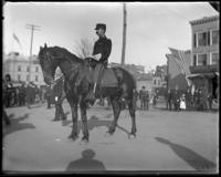 Adjutant Kenny of the 2nd Battery N.G.N.Y. on horseback during the parade to the new armory, Bronx, N.Y., October 25, 1902.