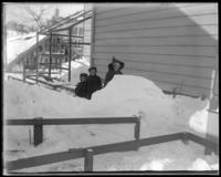 Children beside a snow drift, Bronx, N.Y., February 1905.
