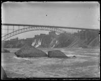 Upper Steel Bridge, with the town of Niagara Falls, undated [c. 1899-1904].