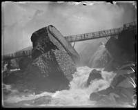 Bridge in front of the American Falls and the Rock of Ages, Niagara Falls, undated [c. 1899-1904].