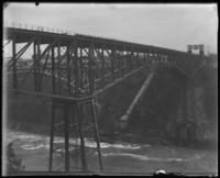 Bridge with Great Gorge Route staircase below, Niagara Falls, undated [c. 1899-1904].