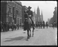 Colonel Franklin Bartlett riding in a Decoration Day parade on Fifth Avenue, New York City, 1899.