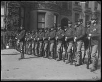 Company G, posed, during a Decoration Day parade, New York City, 1900.