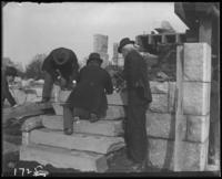 Laying a corner stone during the construction of Jerome Park, Bronx, N.Y., undated [c. 1905-1906].