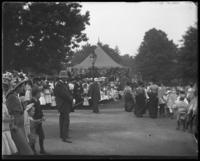 Pavilion draped in bunting for the Sunday Schools parade in Claremont Park, Bronx, N.Y., June 6, 1903.