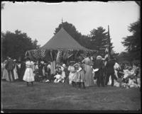 Pavilion draped in bunting, Sunday Schools parade in Claremont Park, Bronx, N.Y., June 6, 1903.