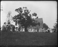 Sunday Schools parade in Claremont Park heading toward the Zborowski mansion, Bronx, N.Y., June 6, 1903.