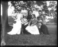 Group portrait of unidentified women and children, Lohbauer Park, Throggs Neck, Pelham Bay, Bronx, N.Y., 1898.