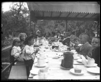 Banquet under a tent, Lohbauer Park, Throggs Neck, Pelham Bay, Bronx, N.Y., 1898.