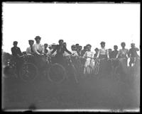 Unidentified group with bicycles,  Lohbauer Park, Throggs Neck, Pelham Bay, Bronx, N.Y., 1898.