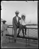 George E. Stonebridge and Georgie on the deck of the Sirius, on an excursion to Croton Point, N.Y., July 7, 1903.