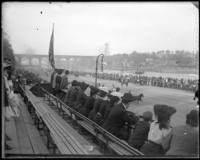 Crowd of people on bleachers along the Speedway, New York City, undated [c. 1899-1904].