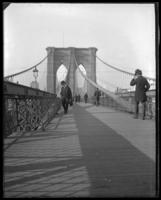 Walking over the Brooklyn Bridge, New York City, undated [c. 1897-1905].