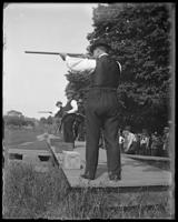 Unidentified men at a shooting range, Oak Point, Port Morris, Bronx, N.Y., undated [c. 1897-1905].
