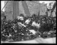 Bishop addressing the crowds at the laying of the cornerstone for St. Joseph's Catholic Church, Bronx, N.Y., undated [c. 1899].