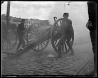 Cannon fired by the 6th New York Heavy Artillery [?] at the opening of the Willis Avenue Bridge, New York City, 1901.