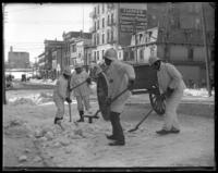 Sanitation workers shoveling snow, Tremont, Bronx, N.Y., undated [c. 1902].