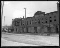 Burned-out block of commercial buildings on the corner of Third Avenue and Fordham Road, Fordham, Bronx, N.Y., undated [c. 1902].