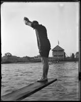 Unidentified man about to dive into the water off Clason Point, Bronx, N.Y., undated [c. 1897-1917].