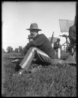 Adjutant Harry Hayden Treadwell (22nd Regiment) sitting, Creedmoor Rifle Range, Queens Village, Queens, N.Y., 1899.