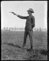 Captain Bridgeman at pistol practice, Creedmoor Rifle Range, Queens Village, Queens, N.Y., 1900.